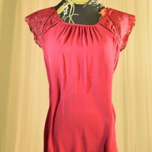 White House Black Market Deep Red Silk and Lace M